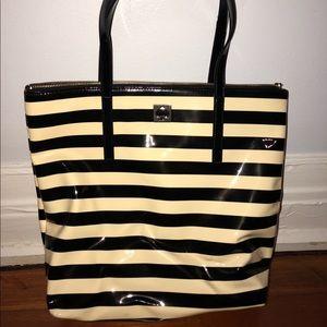 Kate Spade Black & White Striped Tote Purse